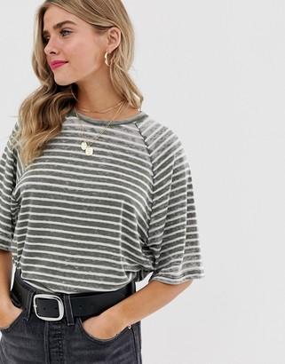 Asos Design DESIGN boxy t-shirt in burnout stripe-Green