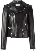 Saint Laurent embroidered love patch biker jacket - women - Cotton/Calf Leather/Leather/Cupro - 40