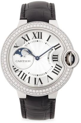 Cartier Ballon Bleu de Diamond, 18K White Gold & Leather Strap Watch