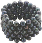 JCPenney FINE JEWELRY Black Cultured Freshwater Pearl Sterling Silver 5-Row Stretch Bracelet