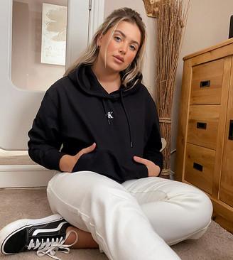 Calvin Klein Jeans puff print back logo hoodie in black