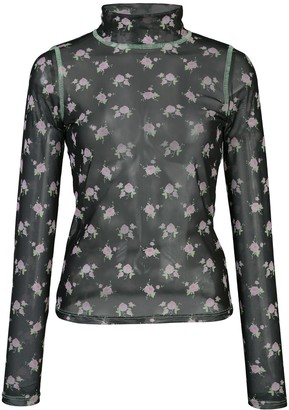 Sandy Liang Promise floral print sheer top