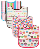 Luvable Friends Pink & Teal Cupcake Water-Resistant Bib - Set of Four
