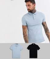 Asos Design ASOS DESIGN 2 pack organic muscle fit jersey polo save-Multi