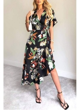 AX Paris Women's Printed Floral Frill Hem Dress
