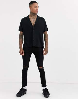 Asos Design DESIGN relaxed fit black viscose shirt with low revere collar in black