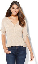 New York & Co. Patch-Pocket Henley Top - Space Dye