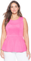 ELOQUII Plus Size Split Back Sleeveless Peplum Top