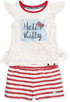 Hello Kitty 2-Pc. Graphic Top & Striped Shorts Set, Toddler & Little Girls (2T-6X)