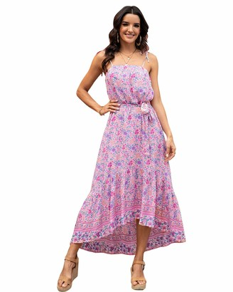 ABYOXI Dresses for Women Casual Summer Bohemian Floral Midi Dress Sexy Sleeveless Strap Flared Long Beach Dress Pink S