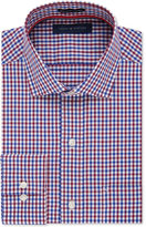 Tommy Hilfiger Men's Classic-Fit Non-Iron Red and Blue Gingham Dress Shirt