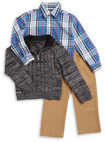 Nautica Boys 2-7 Cable-Knit Sweater, Sportshirt and Chinos Set