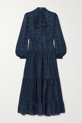 Saloni Isabel C Pussy-bow Silk-blend Jacquard Maxi Dress - Navy