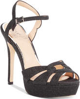 Badgley Mischka Alyssa Glittered Platform Evening Sandals