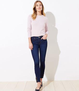LOFT Snap Hem Slim Pocket Skinny Jeans in Rich Dark Indigo Wash