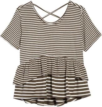 Ten Sixty Sherman Kids' Mixed Stripe Ruffle T-Shirt