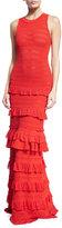 Oscar de la Renta Sleeveless Ruffled Tiered Knit Gown, Cayenne