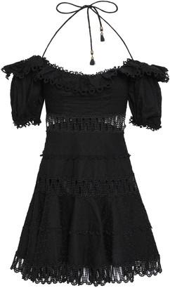 Zimmermann Cutout Linen And Cotton-blend Halterneck Mini Dress