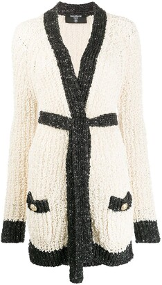 Balmain Sequin Detail Open Knit Cardi-Coat