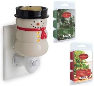 Candle Warmers Etc. Snowman Christmas Holiday Pluggable Wax Melt Tart Fragrance Warmer Gift Set