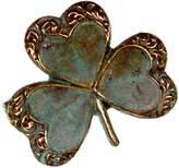 Elaine Coyne Verdigris Patina Decorative Shamrock Clover Pin