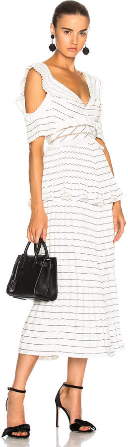 Self-Portrait Self Portrait Monochrome Stripe Midi Dress Black & White in Black & White | FWRD