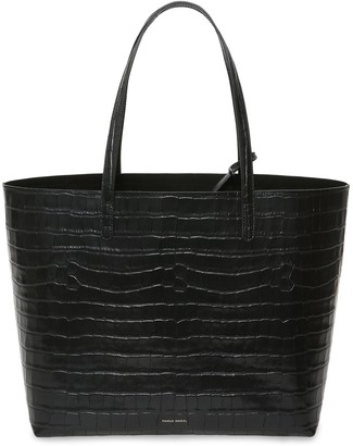 Mansur Gavriel Croc Embossed Leather Large Tote - Black