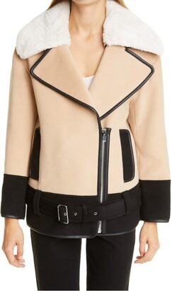 Club Monaco Rismah Wool Blend Faux Fur Collar Coat