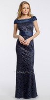 Camille La Vie Sequin Lace Off The Shoulder Evening Dress