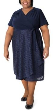 Robbie Bee Plus Size Surplice-Top Lace-Skirt Dress