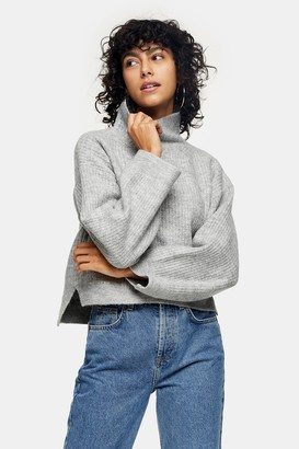 Topshop Womens Grey Marl Cropped Funnel Neck Knitted Jumper - Grey Marl
