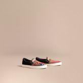 Burberry Rainbow Print House Check Cotton and Suede Slip-on Trainers