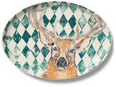 Vietri Into the Woods Deer Large Oval Platter - Brown