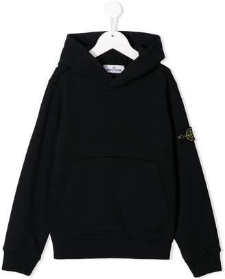 Stone Island Junior logo embroidered hoodie