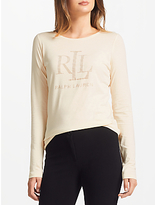 Lauren Ralph Lauren Studded Jersey T-Shirt, Natural