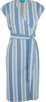 MiH Jeans Frankie Striped Cotton-chambray Wrap Dress - Blue
