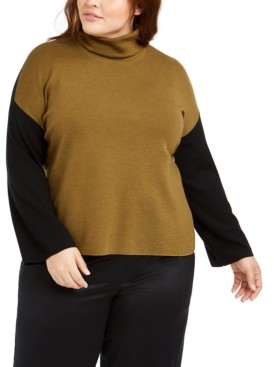 Eileen Fisher Plus Size Wool Colorblocked Turtleneck Sweater