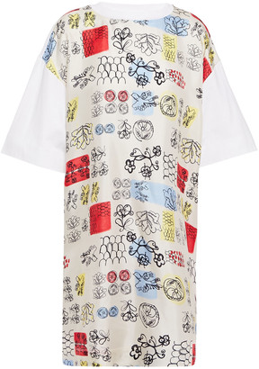Marni Printed Silk-twill And Cotton-jersey Mini Dress