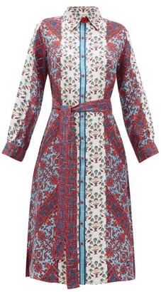 D'Ascoli Theodora Printed Silk Midi Shirtdress - Womens - White Multi