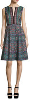 Nanette Lepore Sleeveless Kaleidoscope A-Line Dress, Dark Green