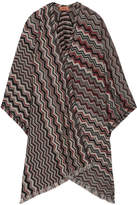 Missoni Fringed Crochet-knit Wool-blend Wrap - Black
