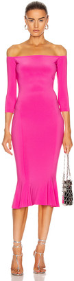 Norma Kamali for FWRD Off Shoulder Fishtail Dress in Orchid Pink | FWRD