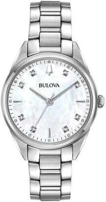 Bulova Women's Mother of Pearl Diamond Accent Bracelet Watch, 32mm