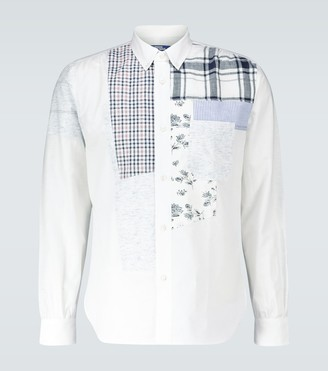 Junya Watanabe Patchwork cotton and linen-blend shirt