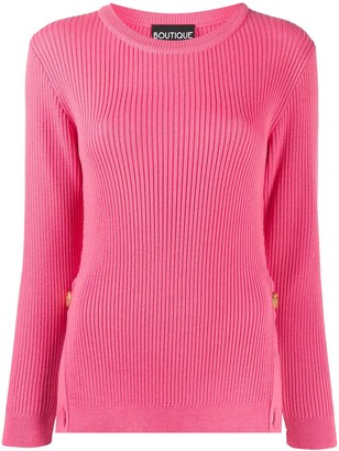 Boutique Moschino Ribbed Knit Side-Slit Jumper
