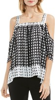 Vince Camuto Geometric Print Cold Shoulder Top