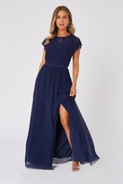 Thumbnail for your product : Little Mistress Bridesmaid Sonja Navy Lace Maxi Dress