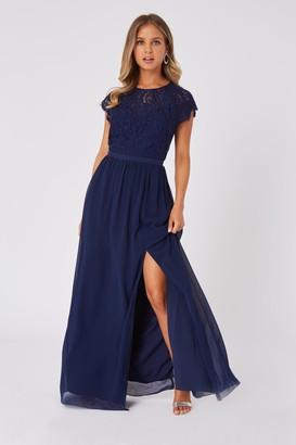Little Mistress Bridesmaid Sonja Navy Lace Maxi Dress