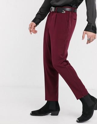 ASOS DESIGN smart tapered tuxedo trousers in burgundy