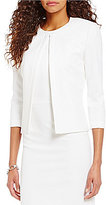 Preston & York Alissa Round Neck 3/4 Sleeve Hook Front Solid Crepe Jacket